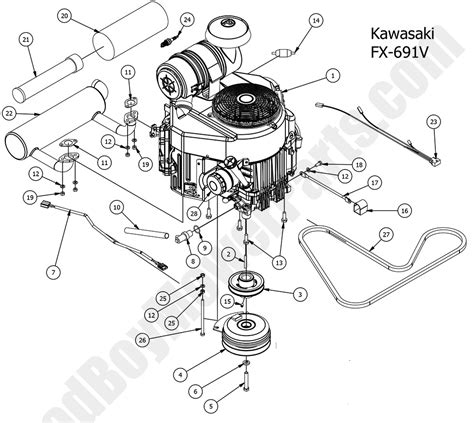 bad boy mower parts  compact outlawengine kawasaki fx  diagram
