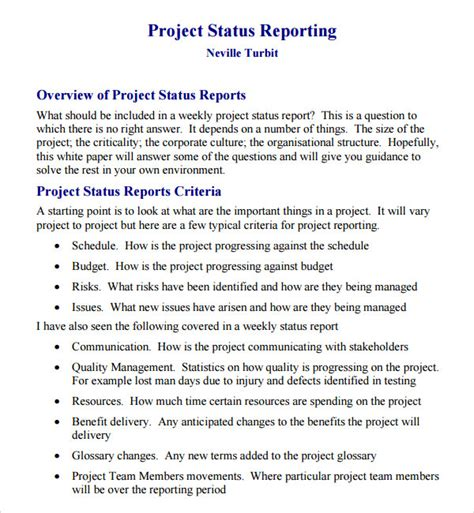 14 Sle Useful Project Status Report Templates Sle Templates One Page Project Overview Template
