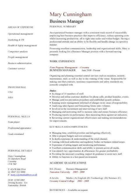 Cv Manager Template business manager cv sle time management resume organizing motivating and controlling staff