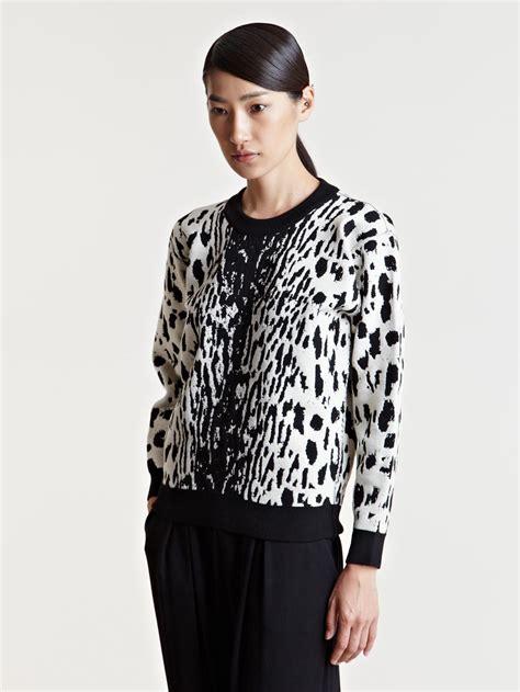 Leopard Print Pullover lyst lanvin womens leopard print sweater in white