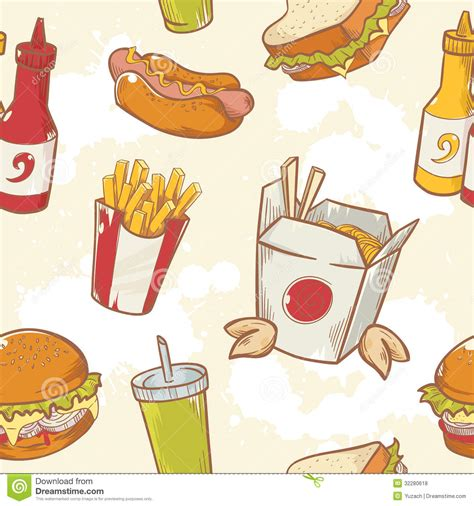 eating pattern in french fastfood delicious hand drawn vector seamless patt stock