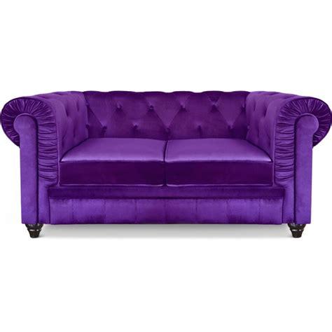 canapé chesterfield velours canap 233 2 places chesterfield velours violet pas cher