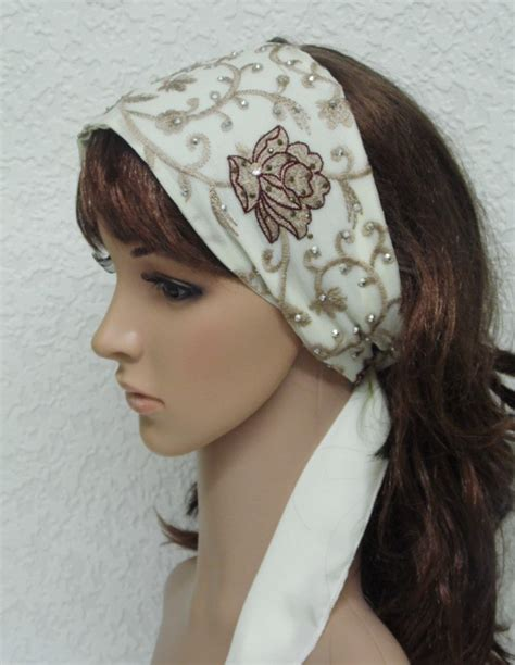 embroidered scarf embroidered flower hair scarf with