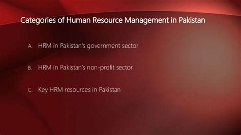 Mba In Human Resource Management In Pakistan by Human Resource Management In Pakistan