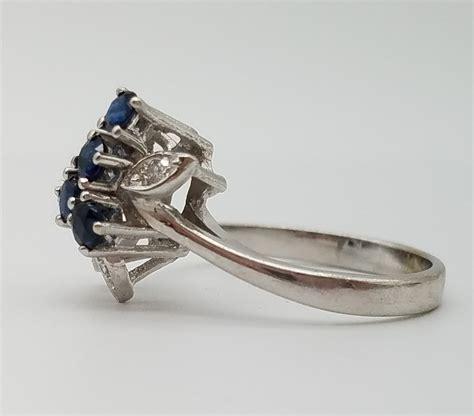 vintage sapphire 14k white gold cocktail ring