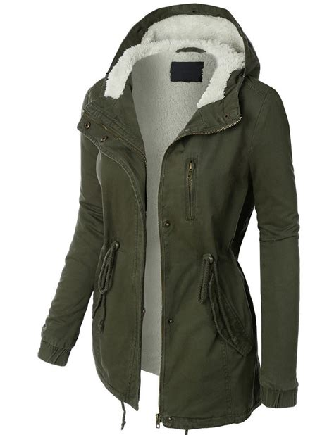 Fashion Jacket Parka womens sherpa lined anorak parka jacket with hoodie