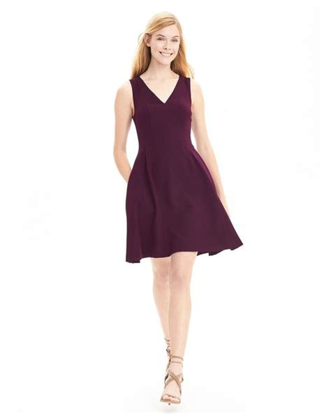 Banana Republic Secret Sale by Banana Republic V Neck Fit And Flare Dress In Purple