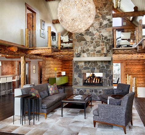 log home game room decor rustic log retreat blends modern accents and spectacular views