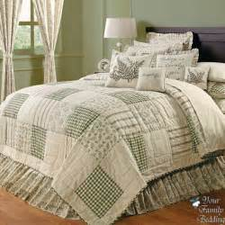 Cal King Bed Quilts Country Green Ivory Floral Patchwork Cal King