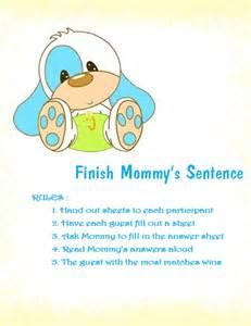 Finish mommy s sentence printable baby shower game