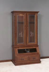 Amish Gun Cabinets Solid Wood Gun Cabinet With Deer Design