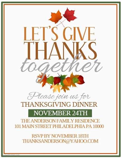 Thanksgiving Dinner Poster Template Let S Give Thanks Together Thanksgiving Poster Dinner Poster Template