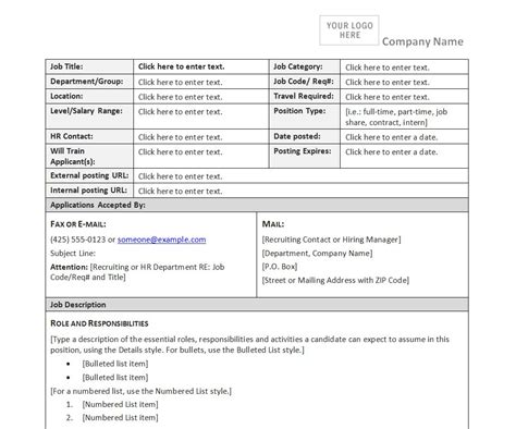 job description form template job description form
