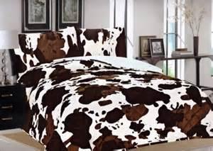 Faux Sherpa Comforter Cow Print Bedspread Whereibuyit Com