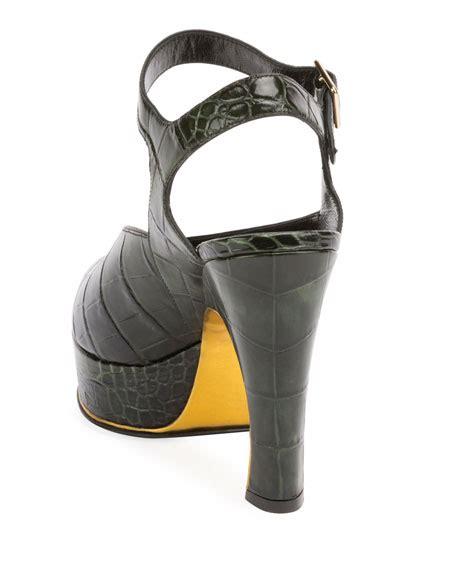 dries noten asymmetric croc print platform sandal neiman