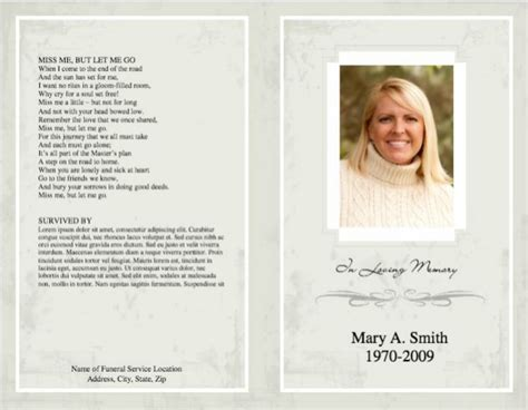 funeral programs templates funeral program template
