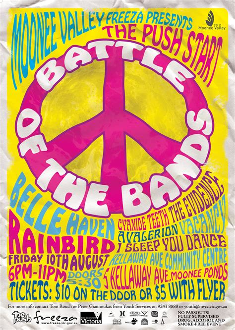 60 s pop posters battle of the bands poster design 60 s themed poster