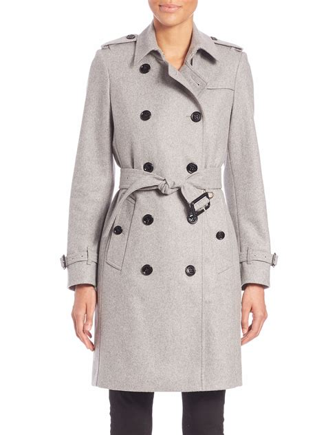 Hem Burberly Wm 006 lyst burberry kensington pale grey trench coat in gray