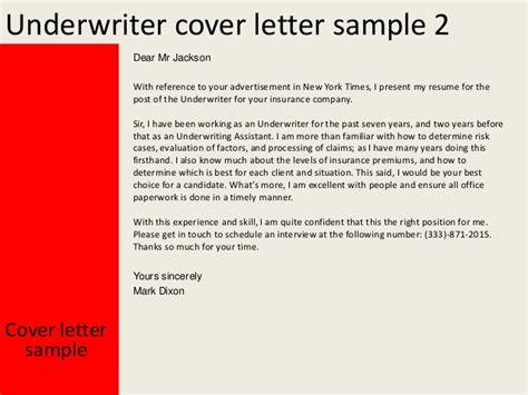 cover letter describe company underwriter cover letter