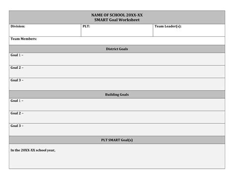 smart plan template term goals worksheet the best and most