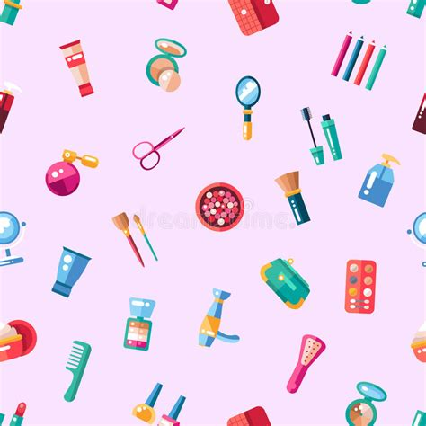 flat design video maker pattern of flat design cosmetics make up icons stock