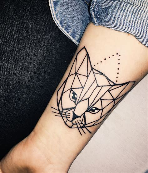 geometric cat tattoo geometric cat on forearm tattoos