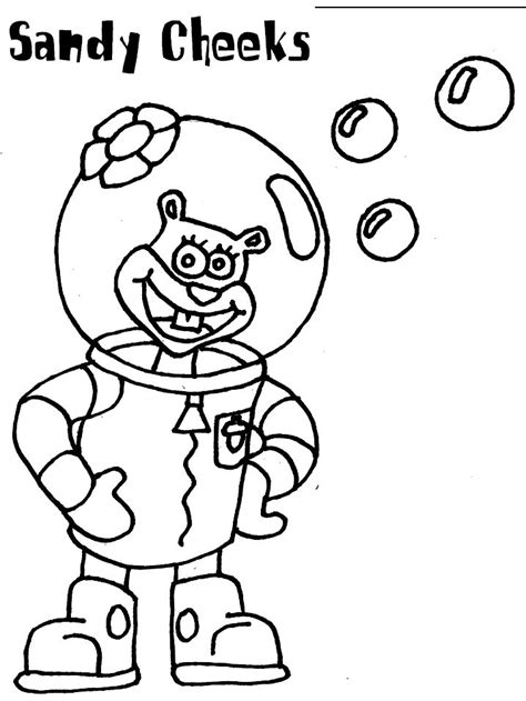 sandy cheeks coloring page spongebob birthday pinterest