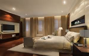 modern bedroom with wood tv wall 3d house