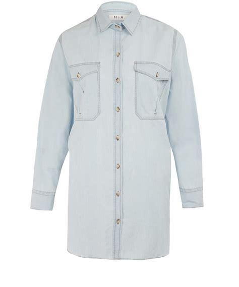 Light Blue Denim Shirt by Mih Light Blue Chambray Denim Shirt In Blue For