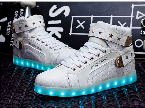 white high top light up shoes led shoes light up trainers sneakers unisex hi tops casual