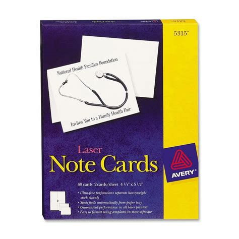 avery note cards template 4 per sheet avery note card ld products