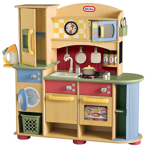 Tikes Childrens Kitchen tikes deluxe wooden kitchen and laundry center