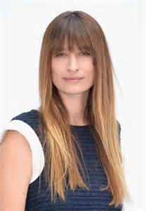 Caroline de maigret long straight ombre hair with blunt bangs for