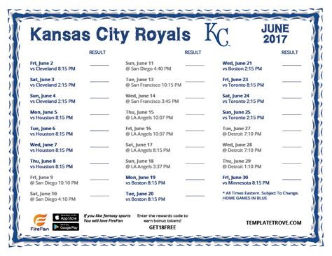 printable kansas city royals baseball schedule 2018 printable 2017 kansas city royals schedule