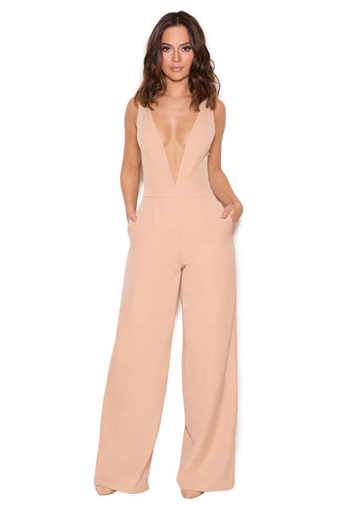 Marwa Dress clothing jumpsuits marwa blush v wide leg jumpsuit