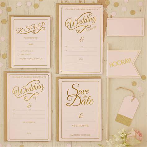gold and wedding invitations uk pastel pink and gold foiled wedding invitations by