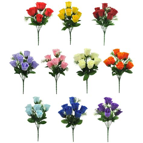 fake flowers artificial silk flowers rose bud bunch 10 colours wedding