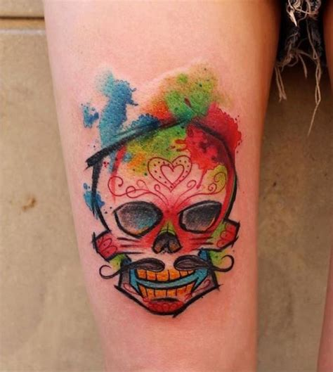 moustache tattoo designs skull with mustache watercolor inked