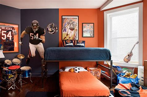 chicago bears bedroom football themeed boy s room contemporary boy s room