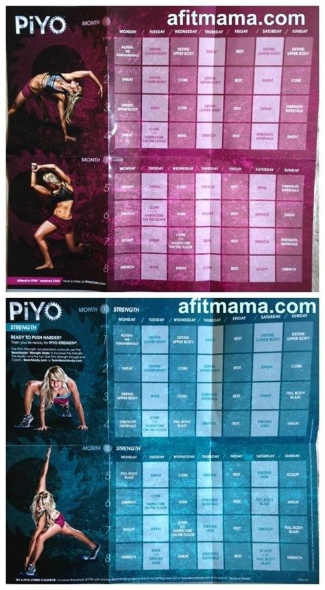 piyo workout schedule and calendar health and fitness