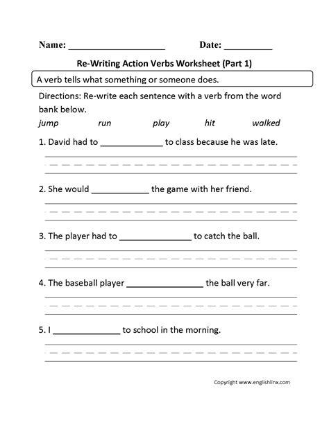 Verbs Worksheet For Grade 1 17 best images of verb worksheets grade 1 verb