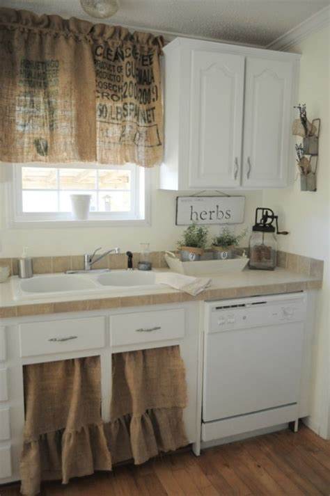 Kitchen Sink Curtain Ideas Farmhouse Kitchen With Burlap Ruffled Sink Curtains Window Valance I Don T Care For The