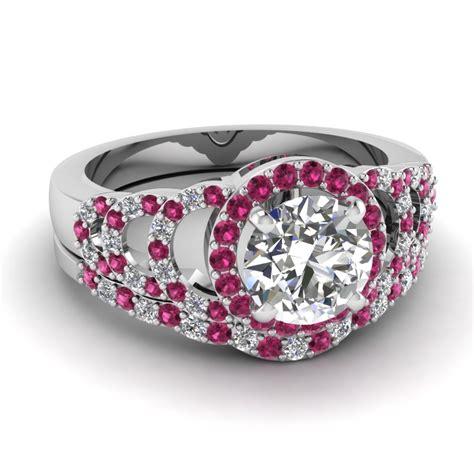Pink Set white gold white engagement wedding ring