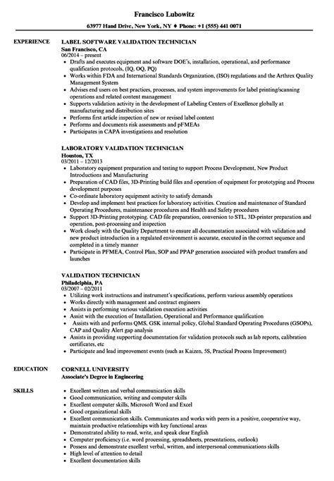Validation Technician Cover Letter by Validation Consultant Sle Resume Relations Cover Letter