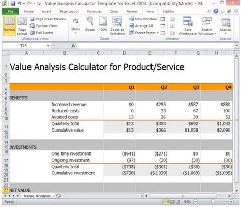 cost analysis excel template value analysis calculator template for excel