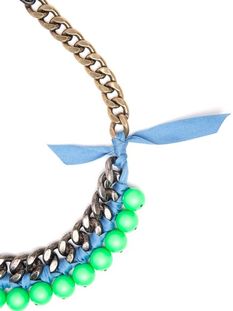 beaded ribbon lyst lanvin bead and ribbon necklace in blue