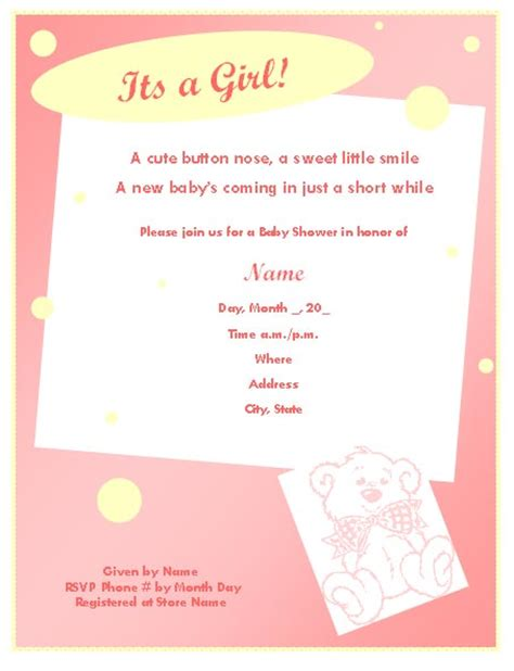 shower invitations templates baby shower invitation template for