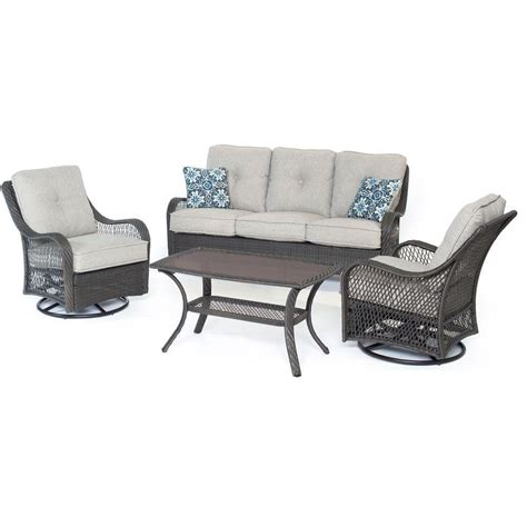 Hanover Orleans 4 Piece All Weather Wicker Patio Deep