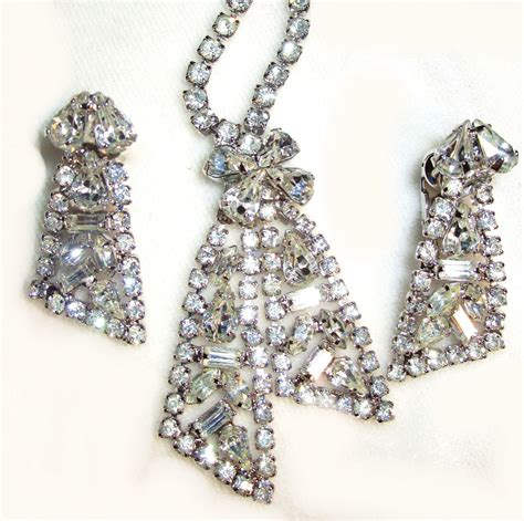 Rhinestone Necklace Earring vintage rhinestone necklace earring set from