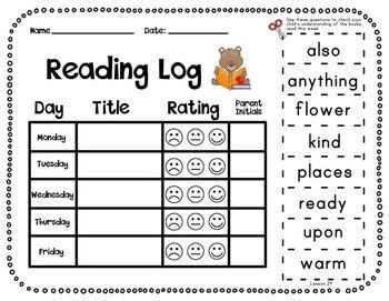 printable reading log 1st grade journeys first grade reading log with sight word flash